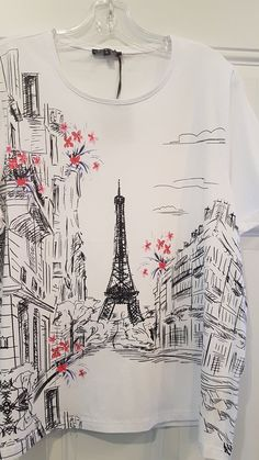 Ladies Leo & Ugo White Top with Eiffel Tower Print Enjoy Life Size XXL Only Style TED967 Back Pictures, White Tops, Leo, Tower, Boutique, Cotton, T Shirt, Style, Fashion