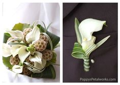 Calla Lily. Love the bout with the varigated lily grass. Love
