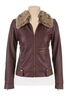 Faux fur trim zip front jacket (original price, $69) available at #Maurices