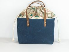 Lunch/Picnic Tote in Arctic  Sea Blue Waxed by RedStaggerwing, $58.00