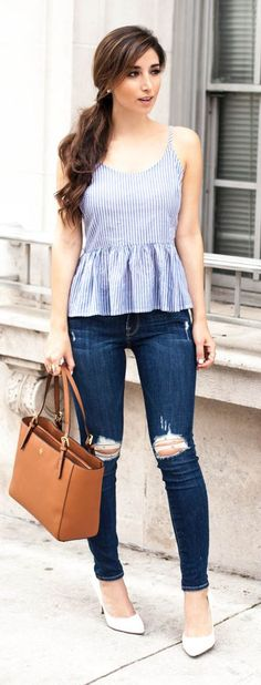 Striped Peplum Top Outfit Idea by The Darling Detail...like the top, not the jeans