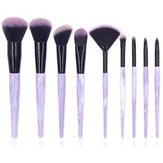 Ksun Professional 9 Piece Resin Marble Texture handle Deluxe Foundation Makeup Brush Set Premium Synthetic Kabuki Foundation Face Powder Blush Eyeshadow Brushes Makeup Cosmetics Brush Kit(Purple) -- You can get additional details at the image link. (This is an affiliate link) #MakeupBrushesTools