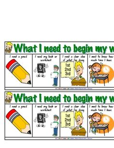 What I Need to Begin my Work Desk Strip - Teaching Aide - PDF file1 page, printable file.2 desk strips to 1 page This classroom resourc...
