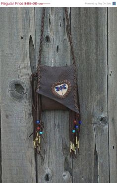 Fringed leather purse with beaded dragonfly totem by thunderrose, $52.00 #onfireteam #handmade #lacwe