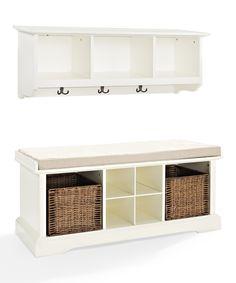 White Brennan Two-Piece Entryway Shelf & Bench Set