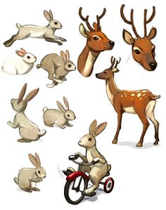 animals -- bunny and deer