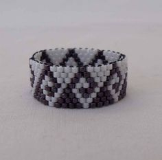 SEED BEAD Illusion Ring in Purple and White Greek by KweenBee