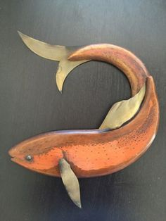 VTG-Mid-Century-Modern-Carved-Wall-Art-Fish-Wood-Copper-Masketeers-1961-MCM
