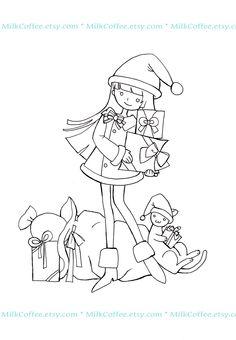 MilkCoffee Digi Stamps: Digi image freebies - Cute Santa
