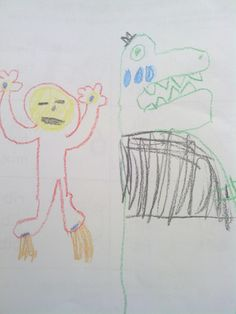 Iron Man,making a T-Rex cry.  (created by my son)