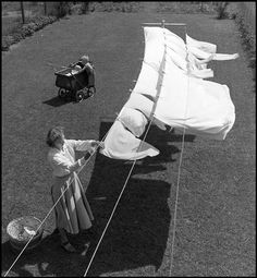 """wehadfacesthen: """" Hanging Sheets, Concord, California, photo by Wayne Miller From the series Baby's First Year """" Old Photos, Vintage Photos, Matt Hardy, Concord California, Wayne Miller, Line Love, Vintage Laundry, Photo D Art, Babies First Year"""