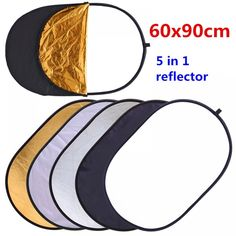 Color : As Shown, Size : 60cm 10 Pcs 5-in-1 Collapsible Multi-Disc Light Reflector Gold Silver Black White Soft Light Five Colors Foldable Photography Background Board 60cm for Photo Shooting