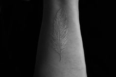 Tattoo. Feather. White Ink. Pretty.
