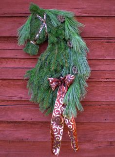 Real Pine Reserve Now Savings! Horse Head Wreath Swag by Professional Equine Artist Christmas Holiday Friesian Horsehead Decor Barn Gift
