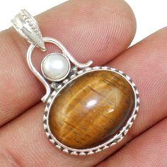 Tiger Eye & Pearl 925 Sterling Silver Pendant Allison Co Jewelry P-13095 #Allisonsilverco