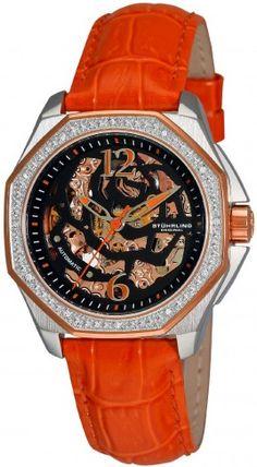 Stuhrling Original 231S.1115F1 Aquadiver Nemo Rose Automatic Skeleton Watch For Women