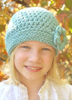 The Button-Down Beanie Crochet Hat Pattern Babies Boys Girls Kids w/ Flower. $4.00