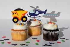 Sweet transportation cupcake toppers. Great for any little boy/girl birthday or any transportation-themed party! $5.99 per dozen