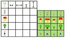 Doble entrada anchos y altos. Recorta y averigua dónde va cada figura según sus atributos.