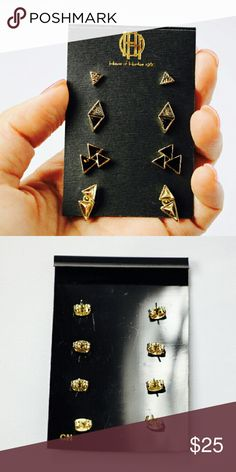 [House of Harlow] Tesselation Stud Earring Set Fabulous earring set by House of Harlow. Comes with original earring set holder and features four black and gold tesselation earrings. NWT. House of Harlow 1960 Jewelry Earrings