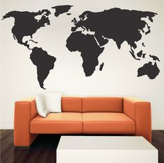 Large world map wall decal with outlined countries and united states world wall decal gumiabroncs Choice Image