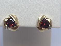 14K YELLOW GOLD GARNET & DIAMOND STUD EARRINGS #Stud