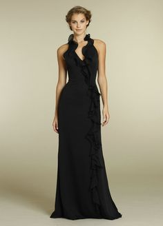 Halter Ruched Empire V Neck Floor Length Black Long Bridesmaid Dresses,Black Bridesmaid Dresses-Black bridesmaid dresses, cheap bridesmaid d...