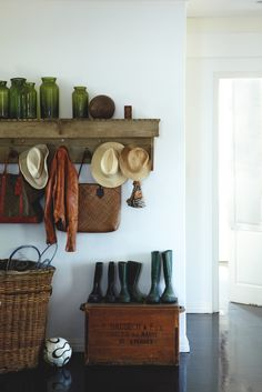 A mudroom or entryway is generally a hall located between the front entrance of the house and the living area. It's a perfect place to organize storage for footwear and outwear. So it's acting as an additional storage for a hallway… Continue Reading → Sweet Home, Interior And Exterior, Interior Design, Home And Deco, My Dream Home, Interior Inspiration, Interior Ideas, Room Inspiration, Modern Farmhouse