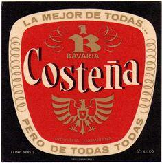 1970 Etiquetas de Cervezas Colombianas: COSTEÑA. Mucho más sobre nuestra hermosa Colombia en www.solerplanet.com