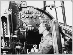Original wartime caption: For story see CH.12466 Picture (issued 1944) shows - A cadet under instruction in the cockpit of a heavy bomber. Lancaster Bomber, History Pics, Maximum Effort, Royal Air Force, Caption, Wwii, Aviation, Aircraft, Train
