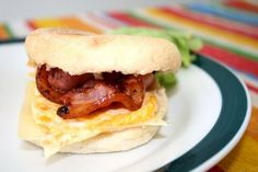 Bacon and Egg Muffin.  From Twenty-Something and Cooking: http://twentysomethingandcooking.blogspot.com/2008/09/weekend.html
