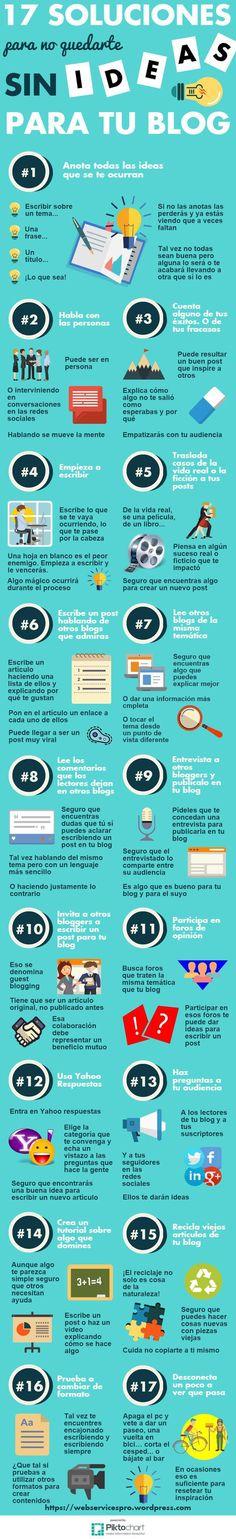 17 Soluciones para no quedarte sin ideas para tu Blog #infografia (scheduled via http://www.tailwindapp.com?utm_source=pinterest&utm_medium=twpin&utm_content=post155573627&utm_campaign=scheduler_attribution)