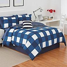 image of IZOD® Buffalo Plaid Reversible Comforter Set in Navy/White