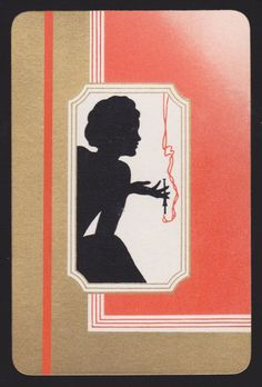 1 SINGLE VINTAGE SWAP PLAYING CARD ART DECO SILHOUETTE LADY SMOKING ENGLISH  #VintageEnglishPlayingCards