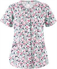 Strictly Scrubs ™ Camouflage Flowers White Print Top