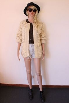 VINTAGE cream sweater CARDIGAN jumper CHUNKY Knit Hand Knitted cozy Indie Oversized Bohemian retro Trendy Warm hipster cable boho Boyfriend