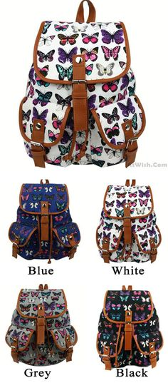 50f0fc63ca Leisure Butterfly Print Women Rucksack Two Pockets College Bag Canvas  Backpack only  29.99 -AtWish.com