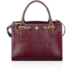 Anne Klein Small Jessica Embossed Tote (42 KWD) ❤ liked on Polyvore featuring bags, handbags, tote bags, garnet, handbags totes, anne klein tote bag, croc handbags, purple handbags and croc embossed handbags