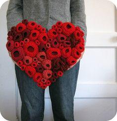 textile art soft sculpture using free form crochet techniques... blogged here: http://cornflowerbluestudio.blogspot.com/2011/10/heart.html #crochet #handmade #textileart #fiberart #red #valentine
