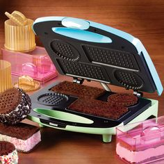 Ice Cream Sandwich Maker: Now you can turn your kitchen into an old-fashioned ice cream parlor with unique and delicious ice cream sandwiches made from scratch! The quick-cooking grill makes perfectly shaped round and rectangular cookies. Translucent ice cream sandwich molds ...Read More @ http://greateststuffonearth.com/ice-cream-sandwich-maker/