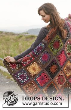 "Crochet DROPS blanket in ""Big Delight"" with edges in ""Big Merino"". FREE New share, thanks so xox"