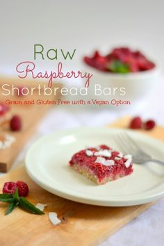 Raw Raspberry Shortbread Bars (Grain and Gluten Free with a Vegan Option) #rawdesserts #vegan #healthysnacks