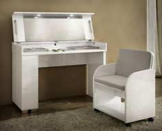 Great Caprice, Modern Vanity Table In White High Gloss Finish With A Matching Seat