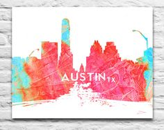 AUSTIN TEXAS skyline Congress Ave Watercolor Ink Art Print  Ink Blotz are vibrant artistic designs of your favorite places, pop culture icons, quotes, and teams! Urban chic expressions for your personality.  Prints: All of my prints are printed by a professional printer, using archival inks and quality kodak luster photo paper. They are NOT FRAMED. They will fit any standard size frame. Items are shipped in reinforced nonbendable mailers or tubes, directly to you.  Items are mailed standard…