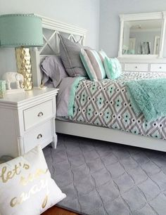 57 Modern Small Bedroom Design Ideas For Home. It used to be very difficult to get a decent small bedroom design but the times have changed and with the way . Green Master Bedroom, Small Room Bedroom, Gray Bedroom, Bedroom Colors, Home Decor Bedroom, Small Rooms, Bedroom Girls, Girl Rooms, Grey Teal Bedrooms