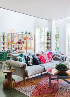 A colorful and vibrant living room.