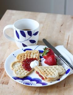 Norwegian Waffles (vaffler) - these are so yummy with cream, strawberry jam and a cup of tea! Much lighter than American waffles, so good!!!!