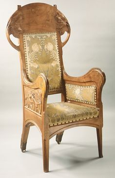 Henri-Jules-Ferdinand Bellery-Desfontaines (French, 1867–1910). Armchair, ca. 1905. French (Paris). The Metropolitan Museum of Art, New York. Purchase, Friends of European Sculpture and Decorative Arts Gifts, 1990 (1990.213) #tapestrytuesday