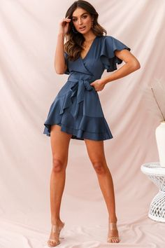 Cami Angel Sleeve Faux Wrap Dress Blue – Dress outfits - Hybrid Elektronike - - Source by elochy Hoco Dresses, Modest Dresses, Elegant Dresses, Sexy Dresses, Cute Dresses, Casual Dresses, Dresses For Work, Summer Dresses, Formal Dresses
