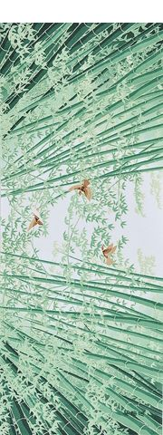 Japanese washcloth, Tenugui 手ぬぐい Swallows in the bamboo woods 竹林に雀